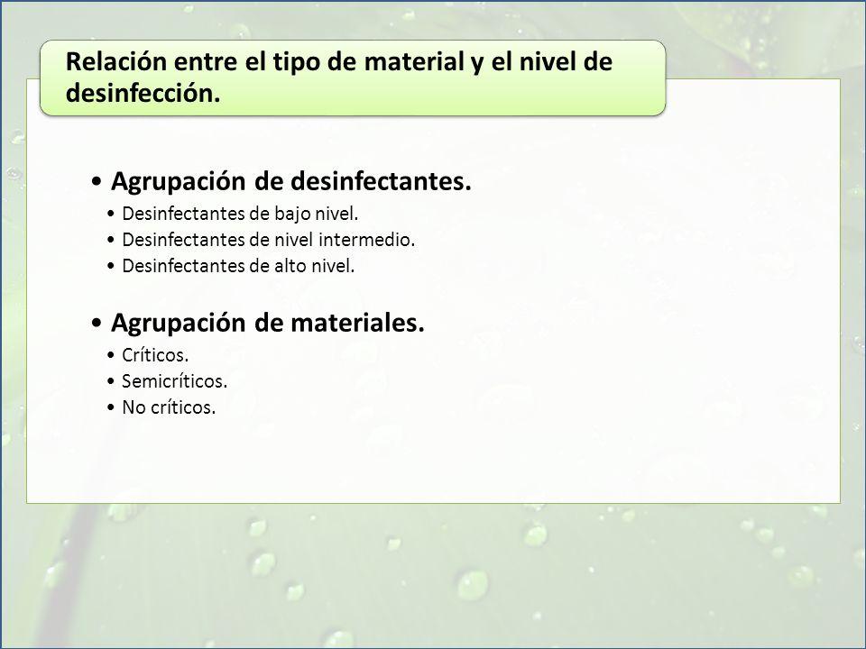 Relación entre el tipo de material y el nivel de desinfección.