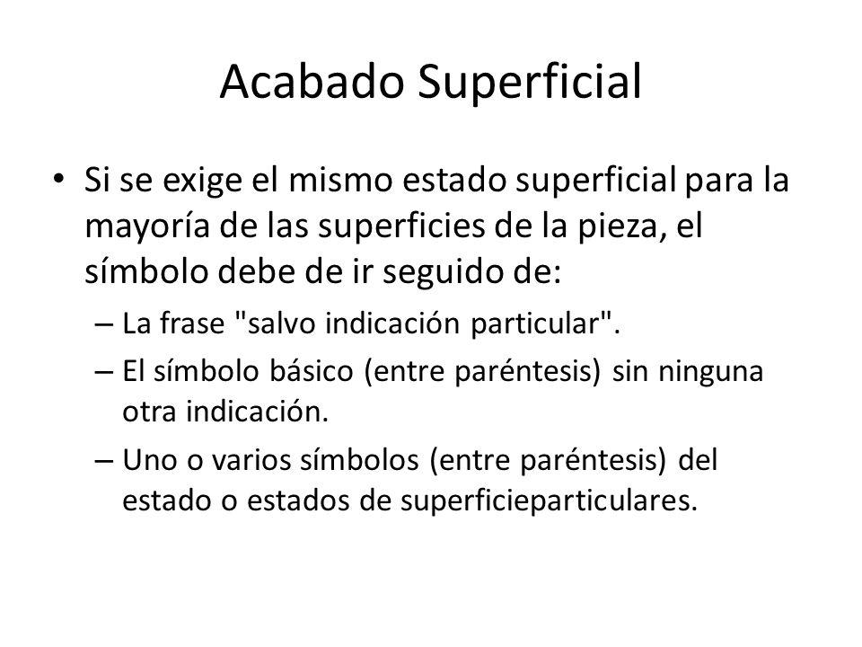 Acabado Superficial Si se exige el mismo estado superficial para la mayoría de las superficies de la pieza, el símbolo debe de ir seguido de: