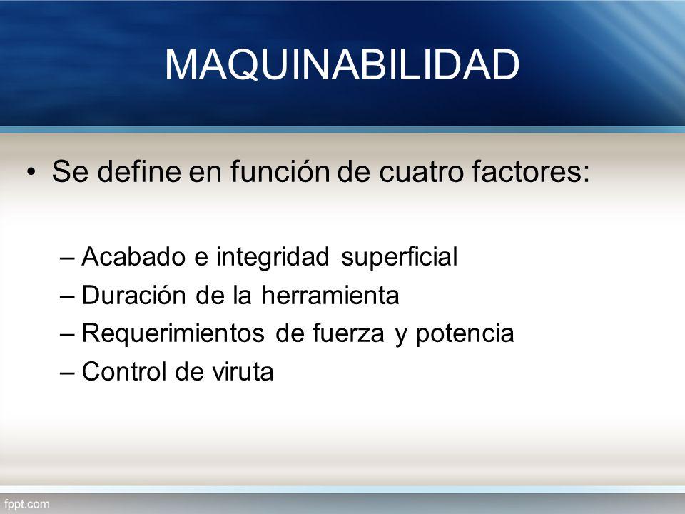 MAQUINABILIDAD Se define en función de cuatro factores: