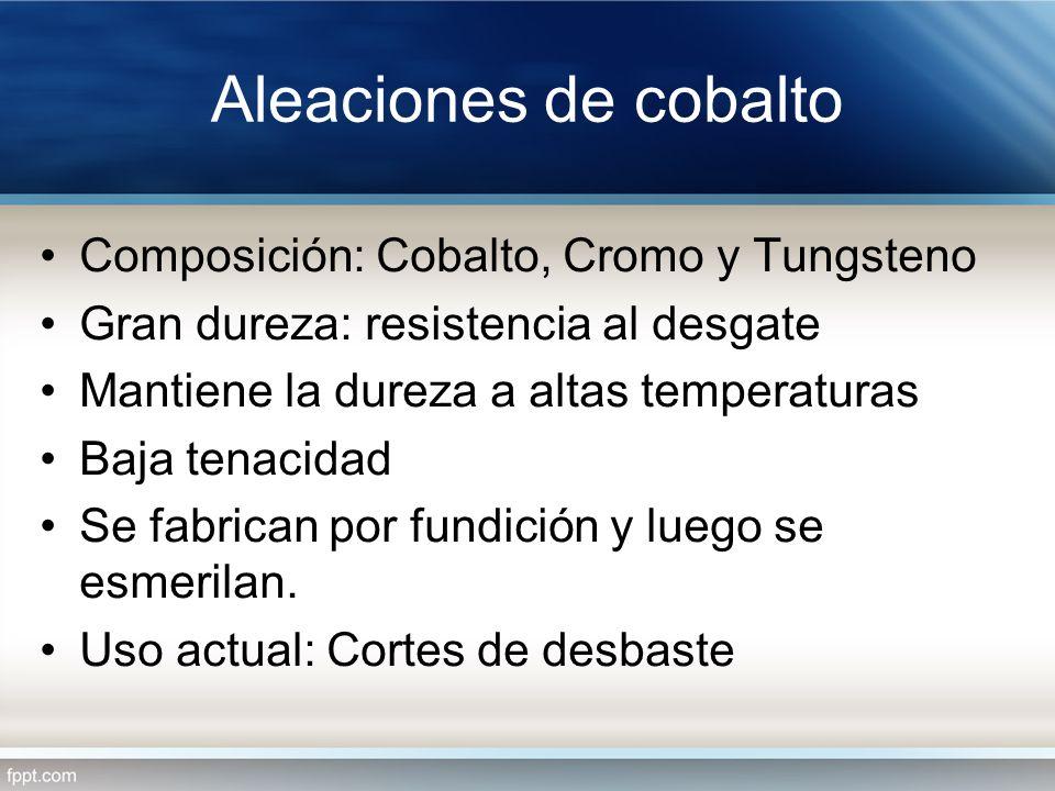 Aleaciones de cobalto Composición: Cobalto, Cromo y Tungsteno