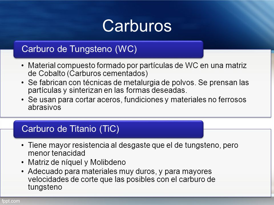 Carburos Carburo de Tungsteno (WC) Carburo de Titanio (TiC)