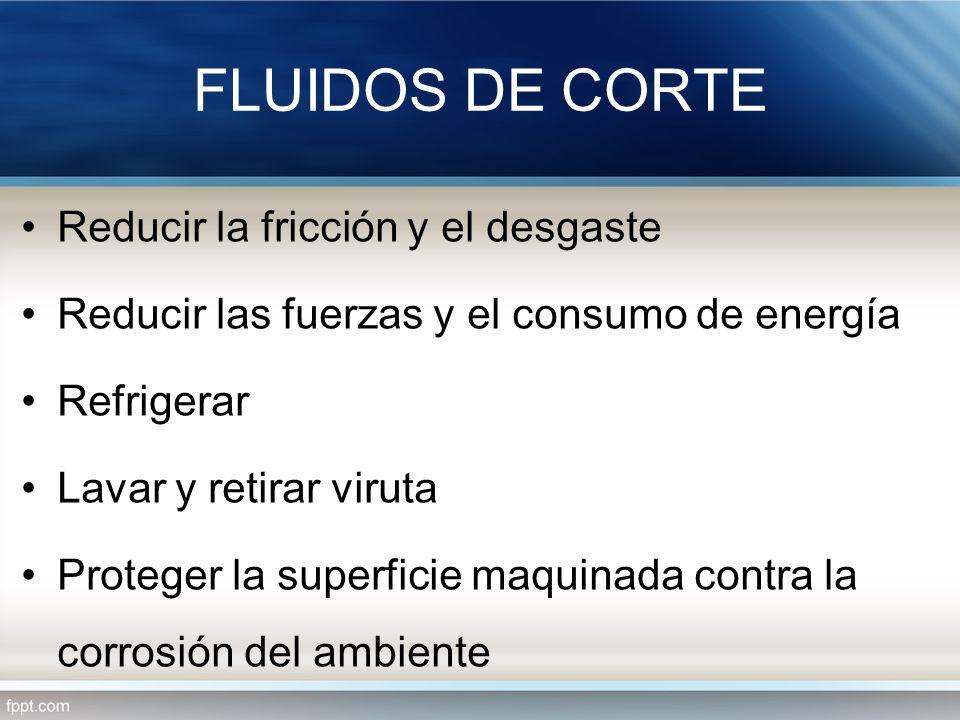 FLUIDOS DE CORTE Reducir la fricción y el desgaste