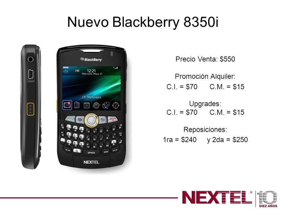 Nuevo Blackberry 8350i Precio Venta: $550 Promoción Alquiler: