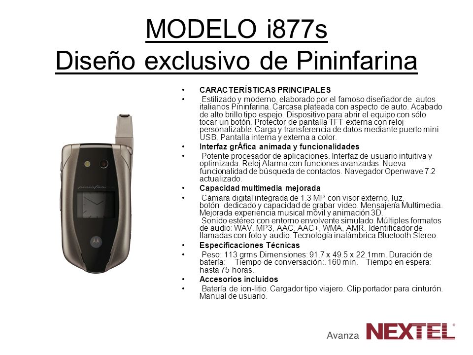 MODELO i877s Diseño exclusivo de Pininfarina