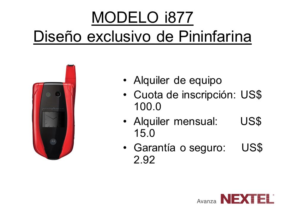 MODELO i877 Diseño exclusivo de Pininfarina