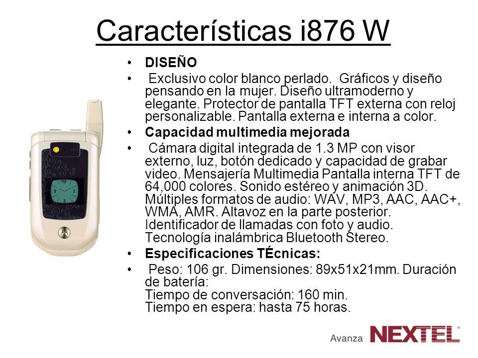 Características i876 W DISEÑO