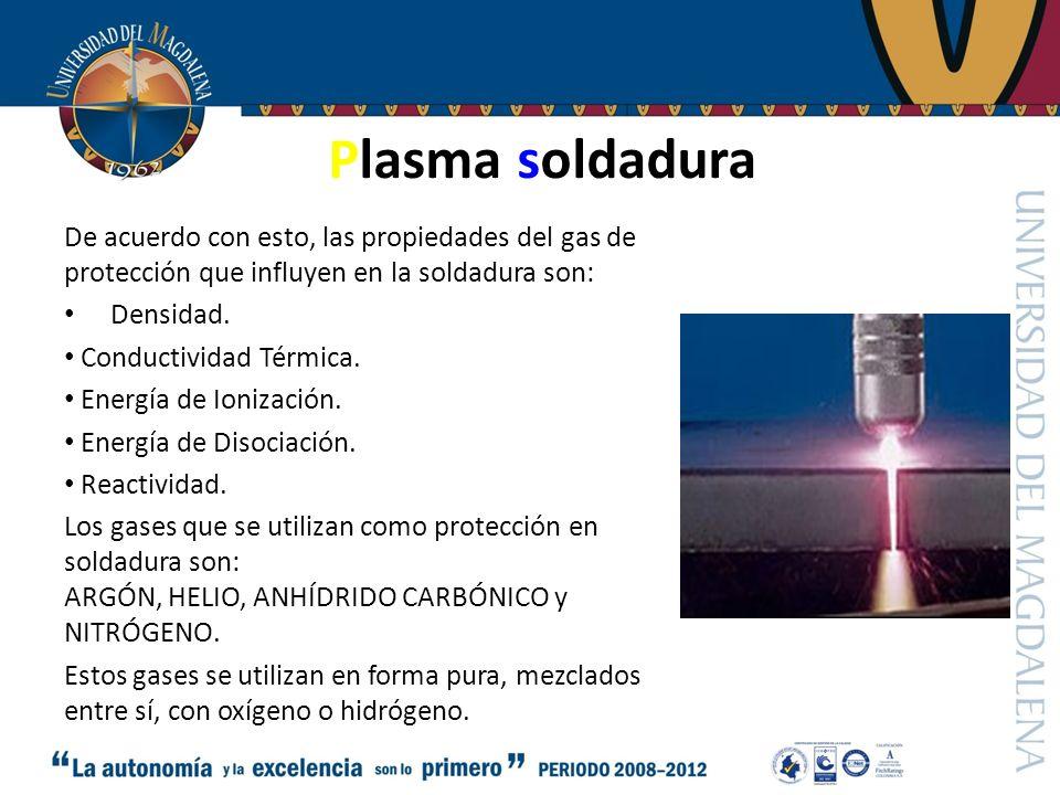 Plasma soldadura De acuerdo con esto, las propiedades del gas de protección que influyen en la soldadura son: