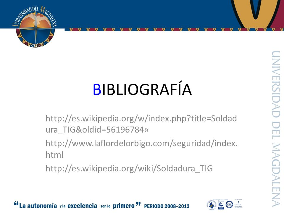 BIBLIOGRAFÍA http://es.wikipedia.org/w/index.php title=Soldadura_TIG&oldid=56196784» http://www.laflordelorbigo.com/seguridad/index.html.