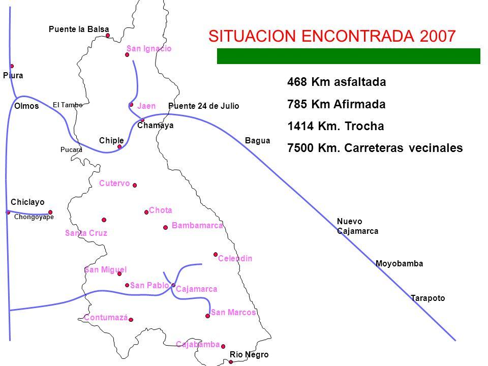 SITUACION ENCONTRADA 2007 468 Km asfaltada 785 Km Afirmada