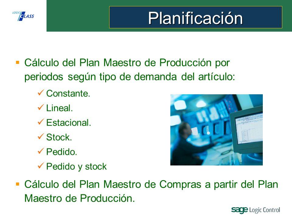 Planificación Cálculo del Plan Maestro de Producción por periodos según tipo de demanda del artículo: