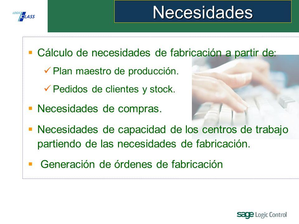 Necesidades Cálculo de necesidades de fabricación a partir de: