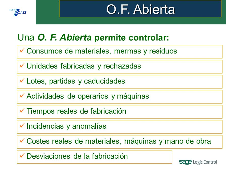 O.F. Abierta Una O. F. Abierta permite controlar: