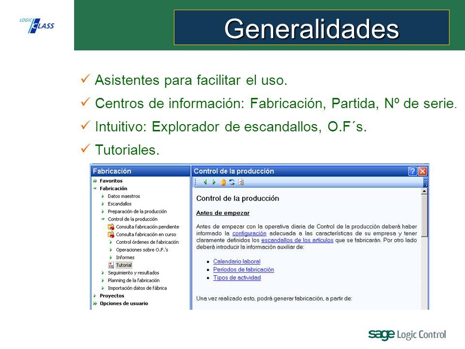 Generalidades Asistentes para facilitar el uso.