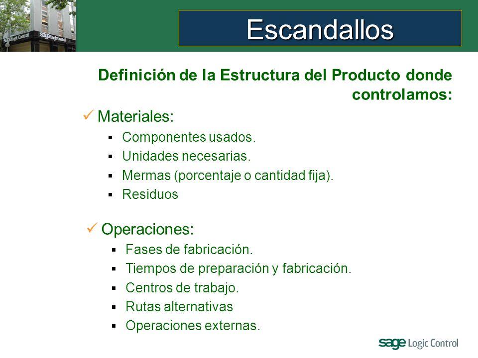 Escandallos Definición de la Estructura del Producto donde controlamos: Materiales: Componentes usados.
