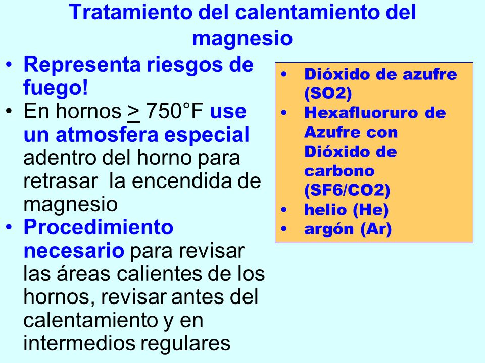 Tratamiento del calentamiento del magnesio