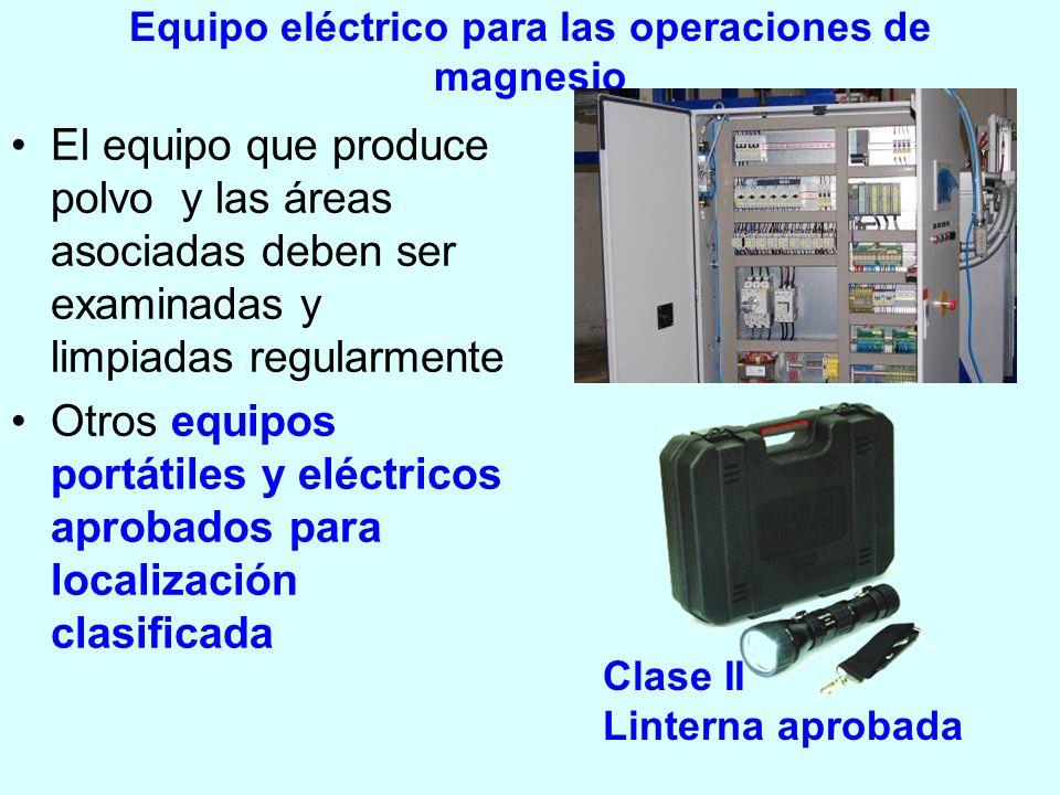 Equipo eléctrico para las operaciones de magnesio