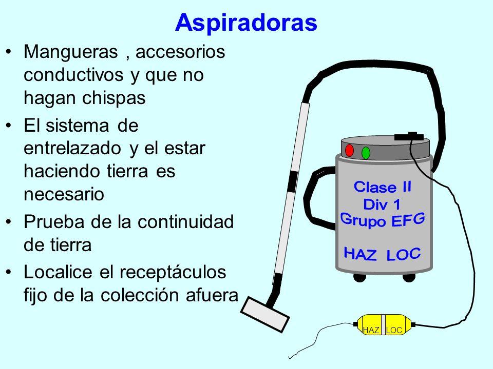 Aspiradoras Mangueras , accesorios conductivos y que no hagan chispas