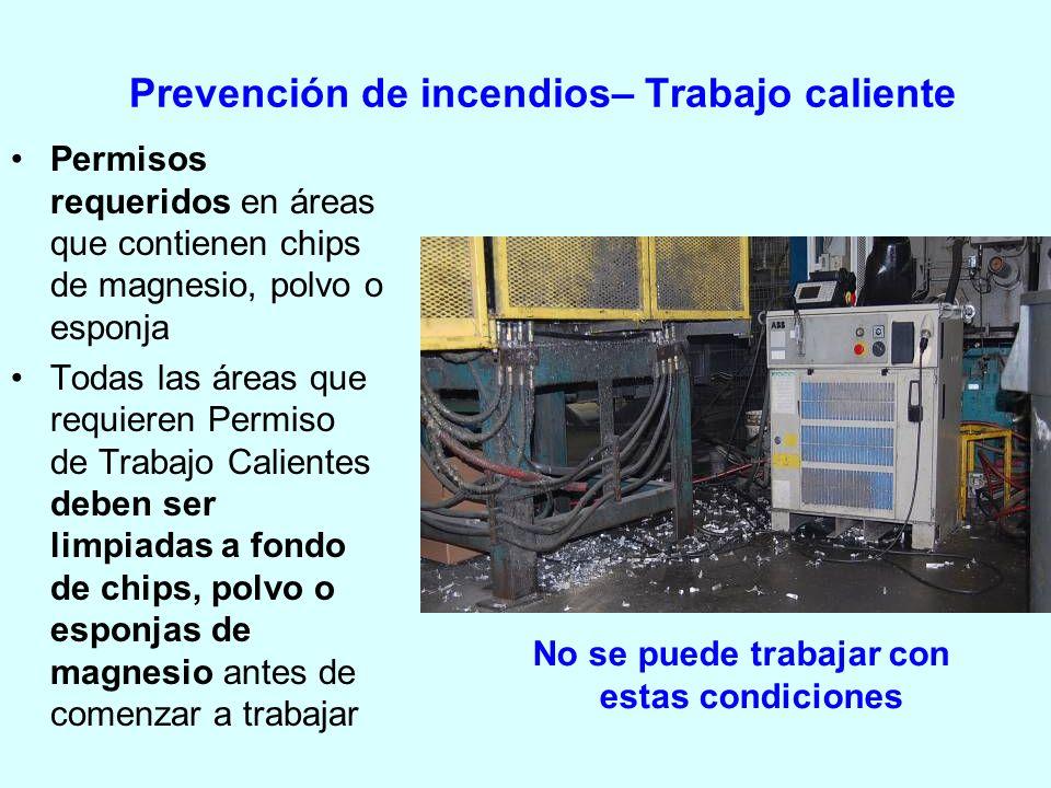 Prevención de incendios– Trabajo caliente
