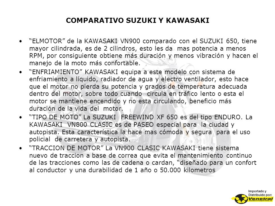 COMPARATIVO SUZUKI Y KAWASAKI