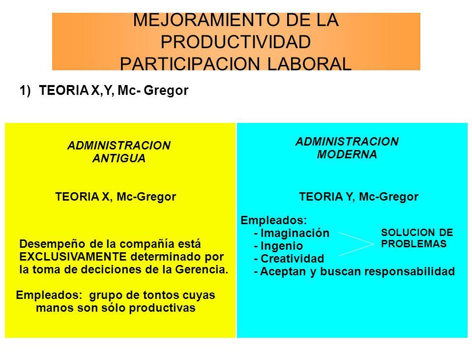 MEJORAMIENTO DE LA PRODUCTIVIDAD PARTICIPACION LABORAL