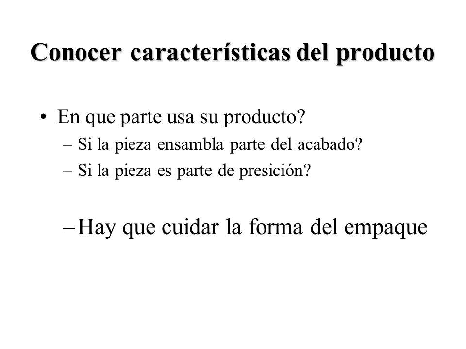 Conocer características del producto