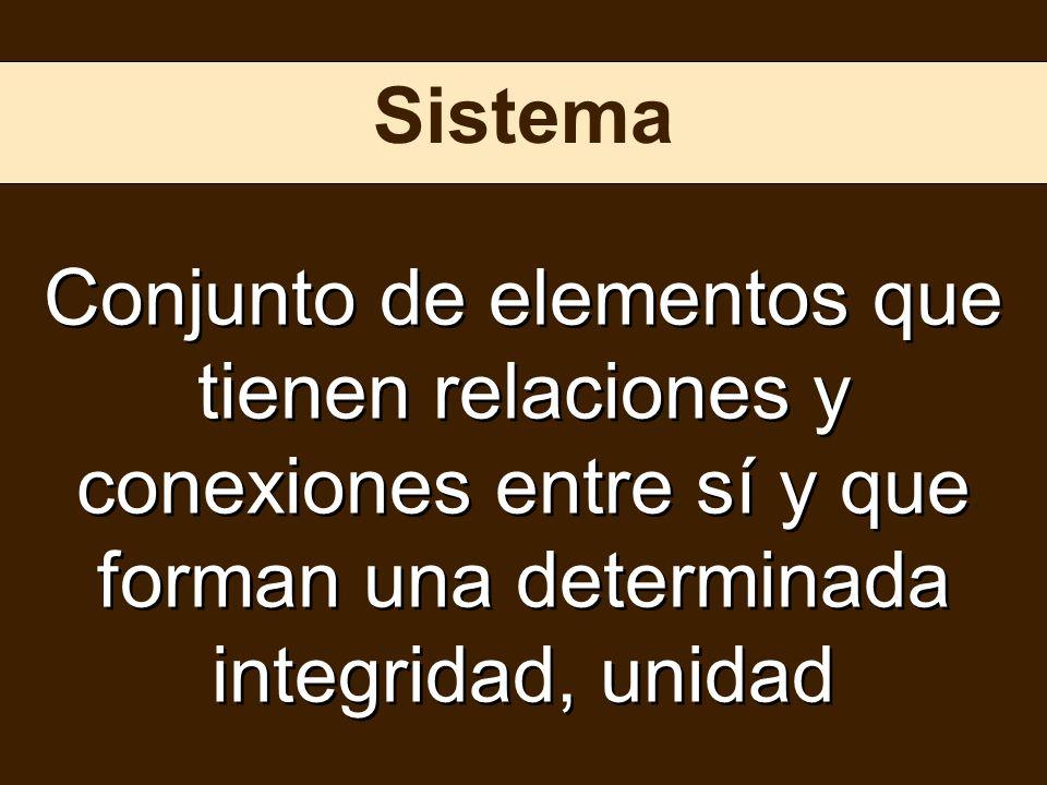 Sistema Conjunto de elementos que tienen relaciones y conexiones entre sí y que forman una determinada integridad, unidad.