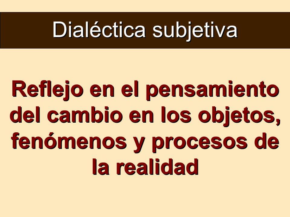 Dialéctica subjetiva Reflejo en el pensamiento del cambio en los objetos, fenómenos y procesos de la realidad.
