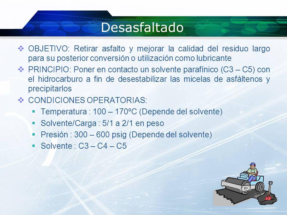 Desasfaltado OBJETIVO: Retirar asfalto y mejorar la calidad del residuo largo para su posterior conversión o utilización como lubricante.