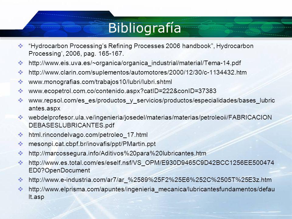 Bibliografía Hydrocarbon Processing's Refining Processes 2006 handbook , Hydrocarbon Processing', 2006, pag. 165-167.