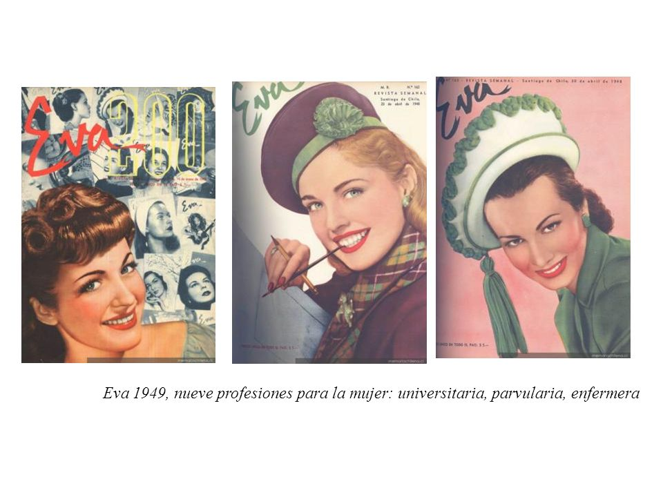 Eva 1949, nueve profesiones para la mujer: universitaria, parvularia, enfermera