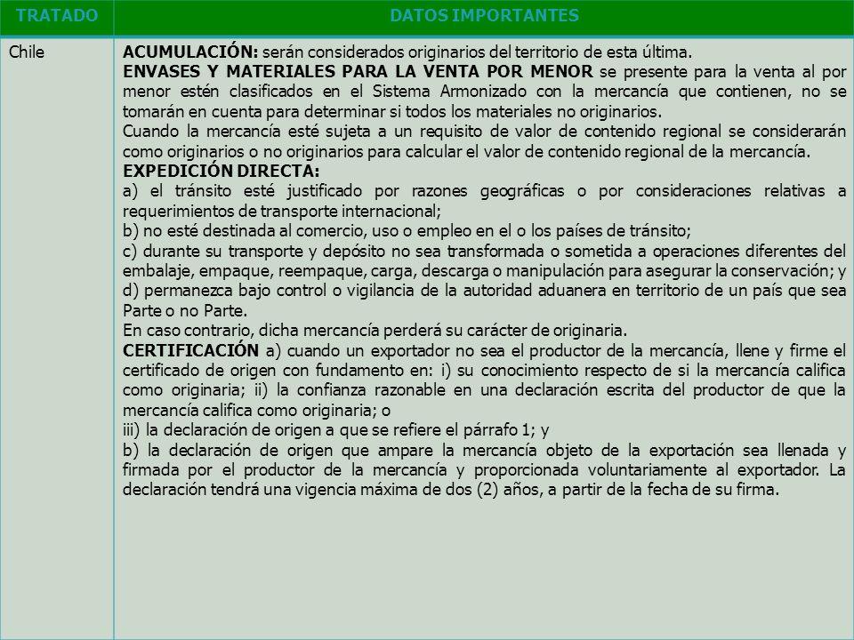 TRATADO DATOS IMPORTANTES. Chile. ACUMULACIÓN: serán considerados originarios del territorio de esta última.