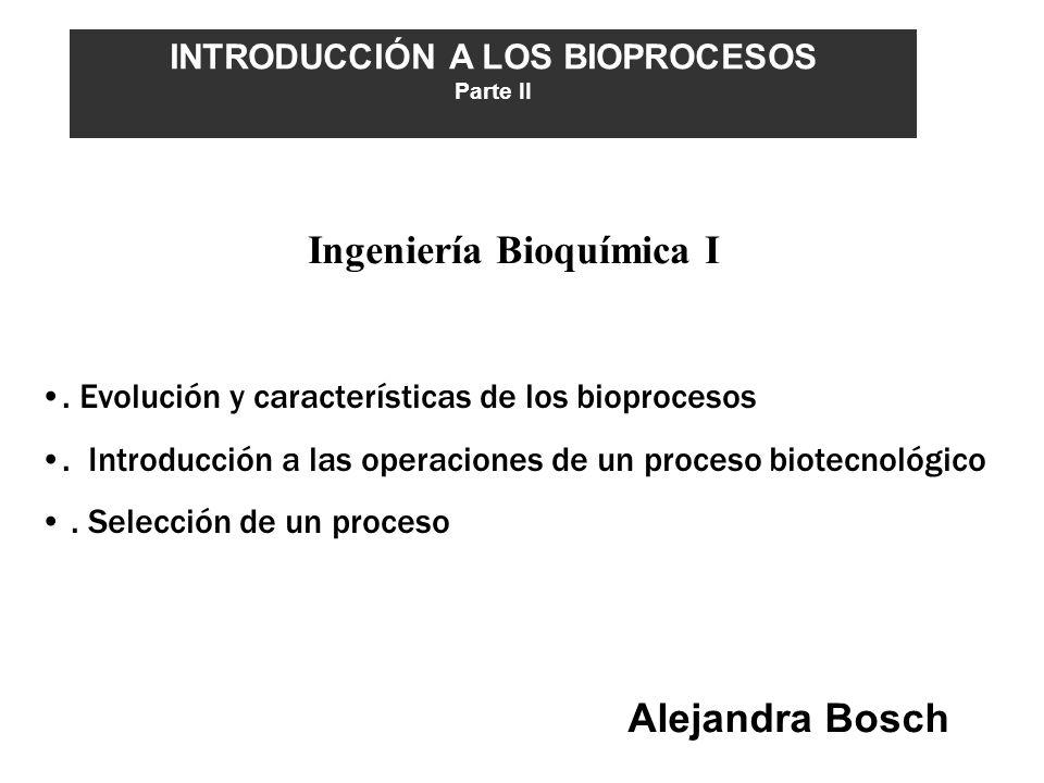 INTRODUCCIÓN A LOS BIOPROCESOS Ingeniería Bioquímica I