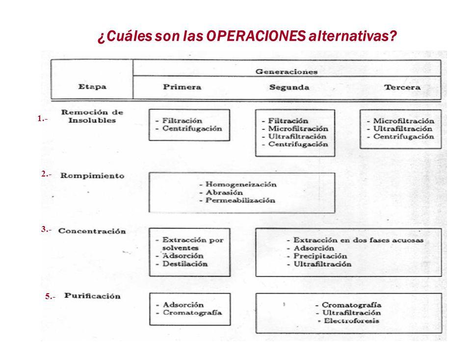 ¿Cuáles son las OPERACIONES alternativas