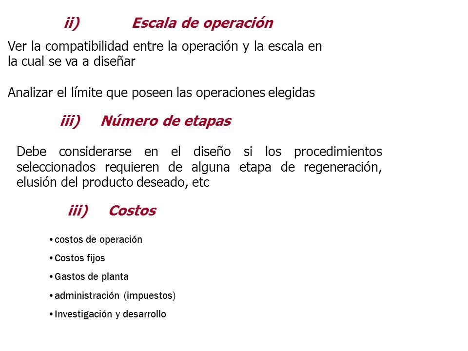ii) Escala de operación