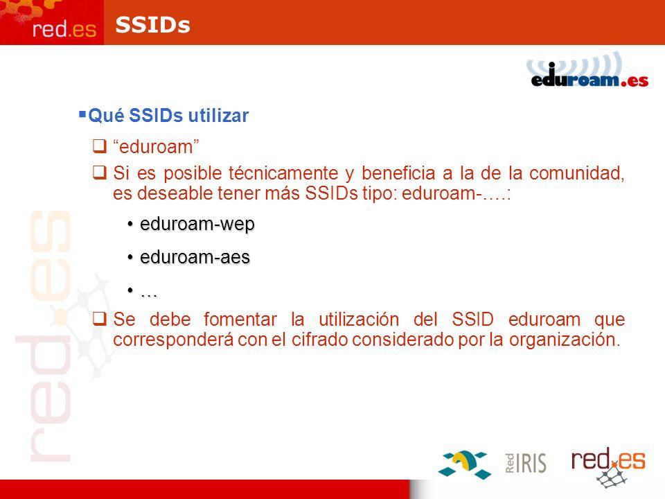 SSIDs Qué SSIDs utilizar eduroam