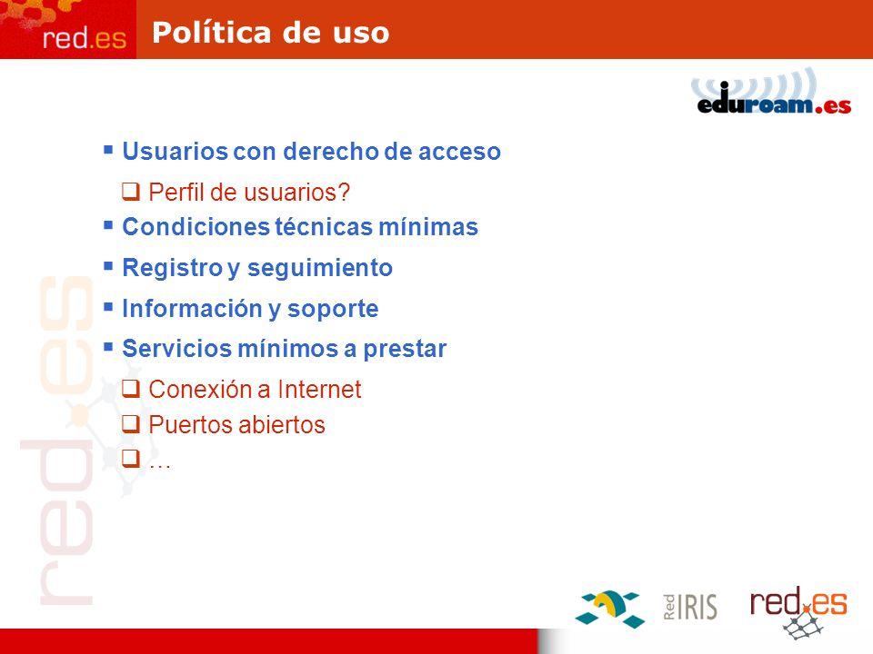 Política de uso Usuarios con derecho de acceso Perfil de usuarios