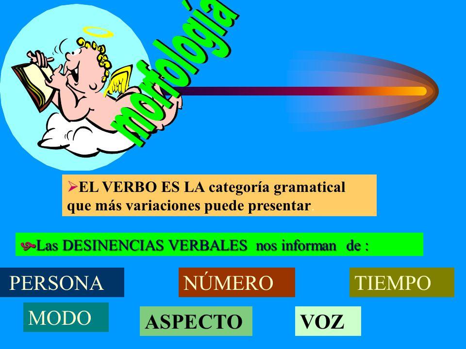 morfología NÚMERO TIEMPO MODO ASPECTO VOZ PERSONA