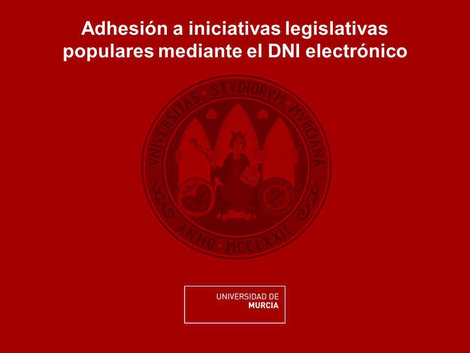Adhesión a iniciativas legislativas populares mediante el DNI electrónico