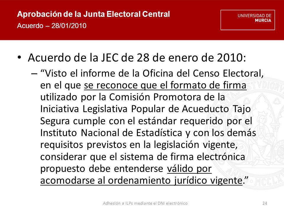Aprobación de la Junta Electoral Central