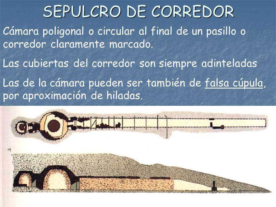 SEPULCRO DE CORREDOR Cámara poligonal o circular al final de un pasillo o corredor claramente marcado.