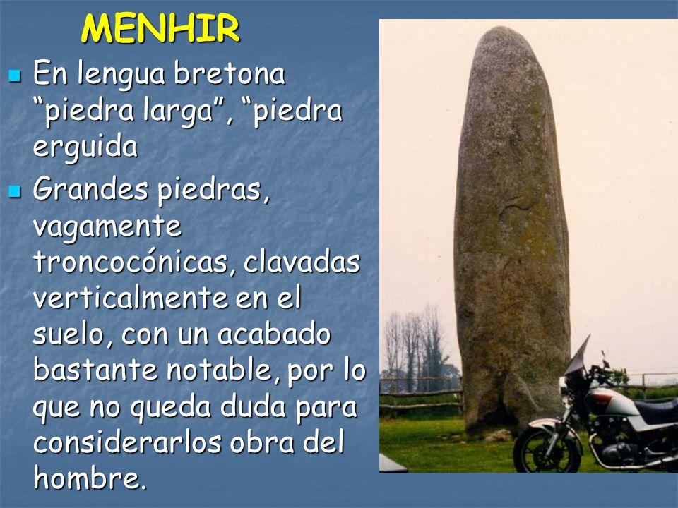 MENHIR En lengua bretona piedra larga , piedra erguida