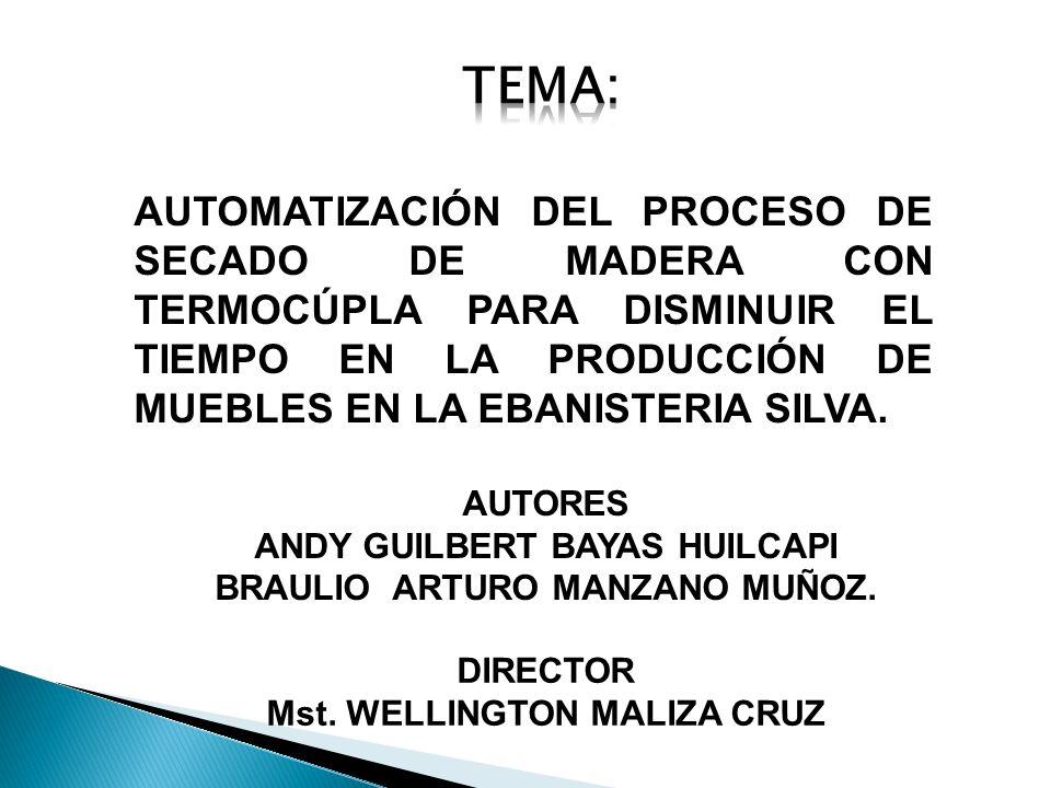 Tema: AUTOMATIZACIÓN DEL PROCESO DE SECADO DE MADERA CON TERMOCÚPLA PARA DISMINUIR EL TIEMPO EN LA PRODUCCIÓN DE MUEBLES EN LA EBANISTERIA SILVA.
