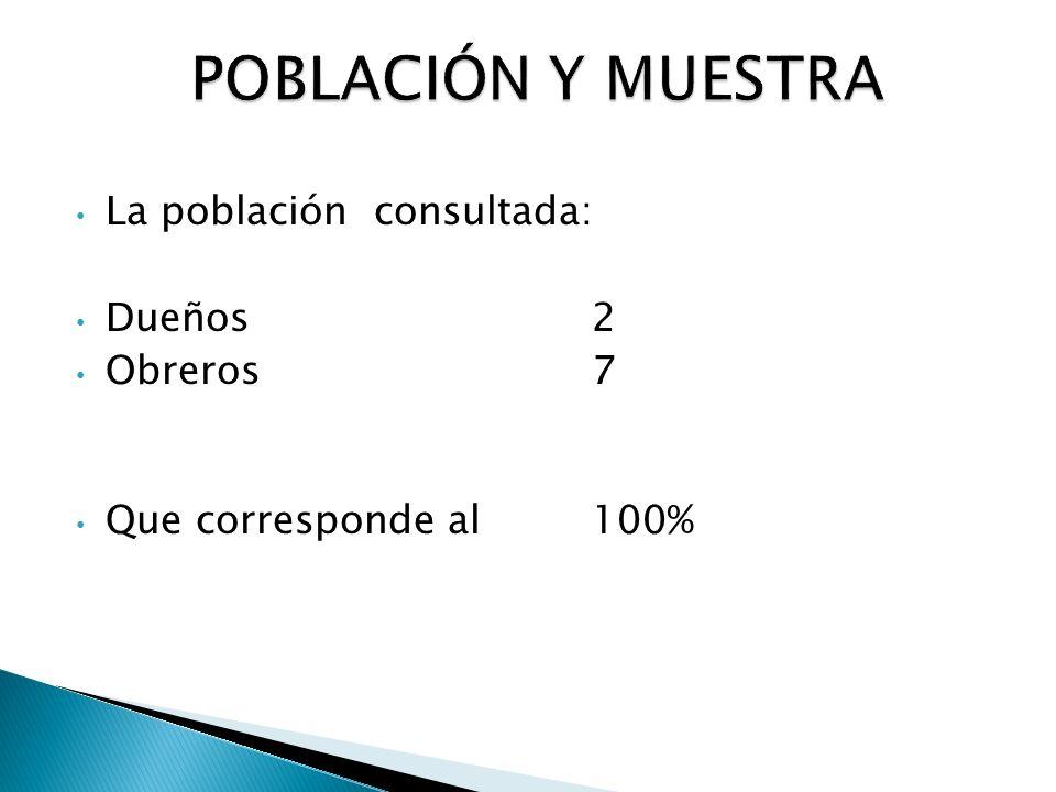 POBLACIÓN Y MUESTRA La población consultada: Dueños 2 Obreros 7