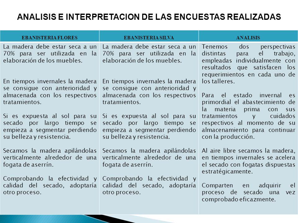 ANALISIS E INTERPRETACION DE LAS ENCUESTAS REALIZADAS