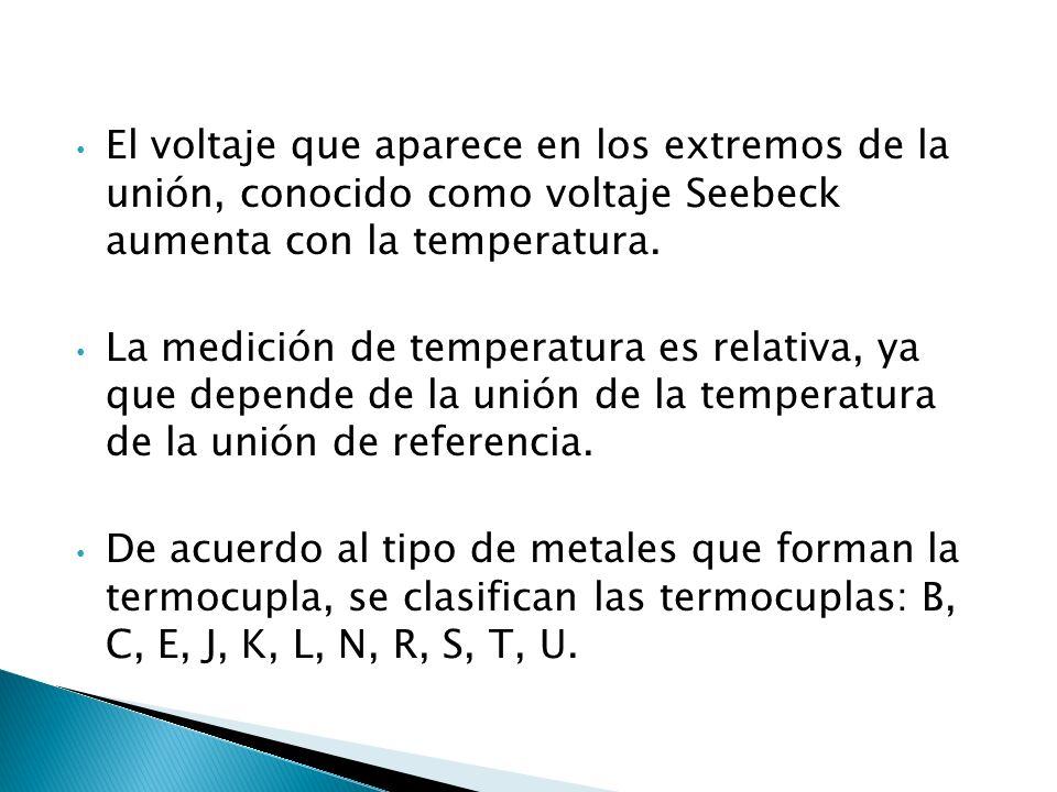 El voltaje que aparece en los extremos de la unión, conocido como voltaje Seebeck aumenta con la temperatura.