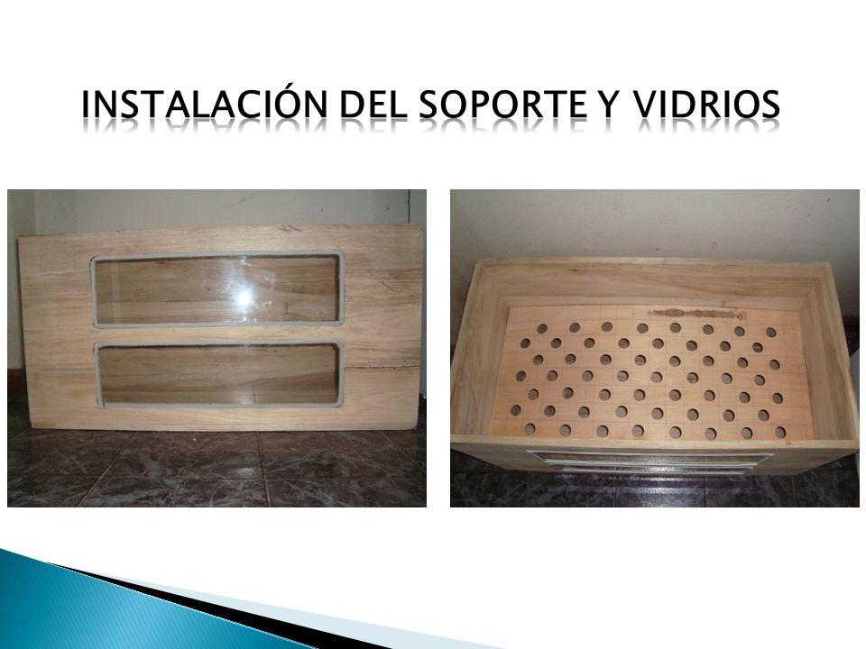 Instalación del soporte y vidrios