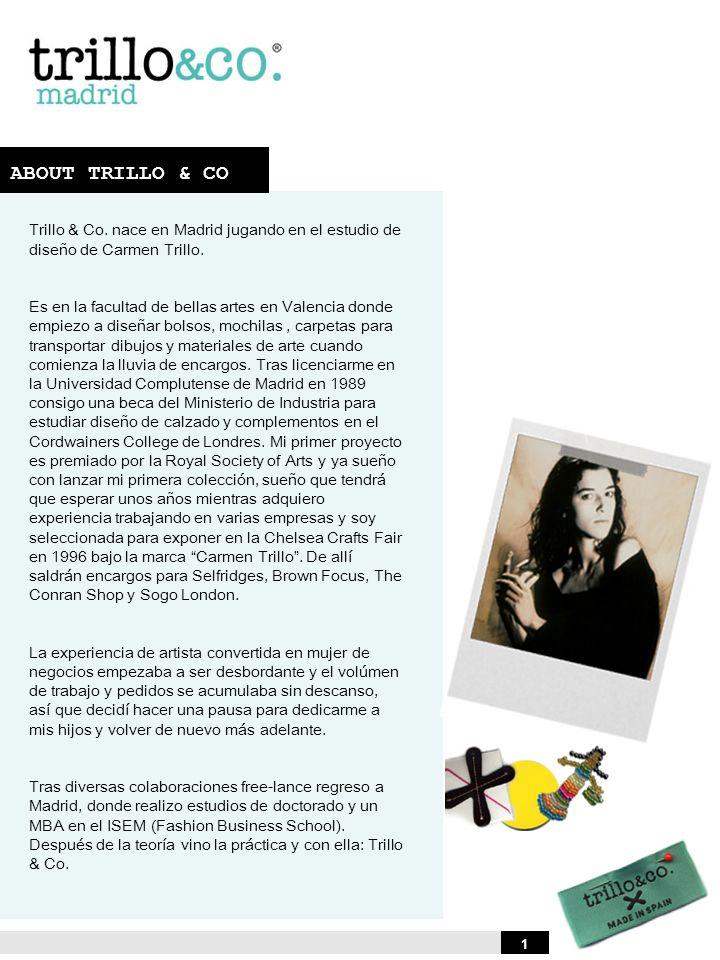ABOUT TRILLO & CO Trillo & Co. nace en Madrid jugando en el estudio de diseño de Carmen Trillo.