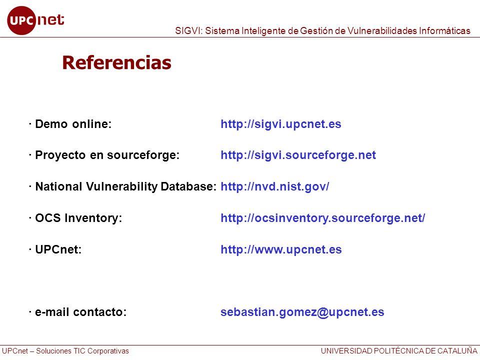 Referencias · Demo online: http://sigvi.upcnet.es