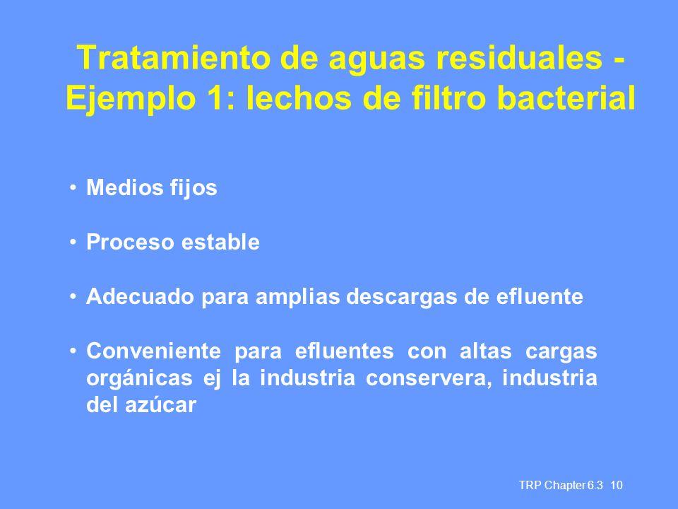 Tratamiento de aguas residuales - Ejemplo 1: lechos de filtro bacterial