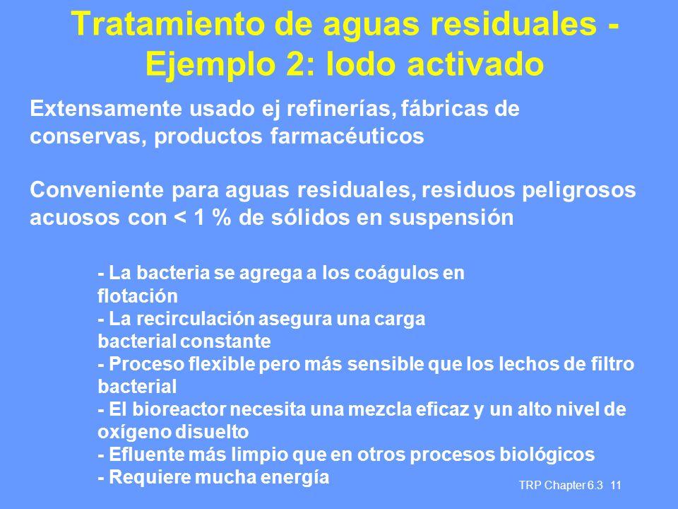 Tratamiento de aguas residuales - Ejemplo 2: lodo activado